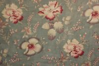 Vintage French printed c1910 cotton FADED FLORAL pale blue pink