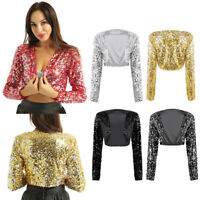 Womens Ladies Sequin Bolero Shrug Clubwear Cardigan Cropped Party Top Jackets
