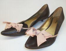 Sam Edelman Wom's US 6.5M Brown Leather Pink Bow Slip-On Pointy Toe Kitten Heels