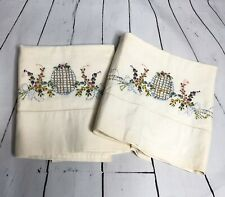 Pair of White Floral Ribbon Basket Egg Vintage Pillowcases Stitching Pink Purple