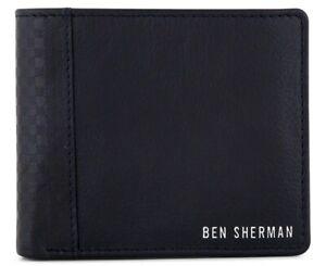 Ben Sherman Wallet Black Card Holder Gingham Embossed Leather NEW