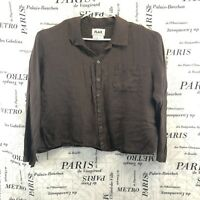 Flax Womens Shirt Solid Brown Linen Button Down Collared Pockets Size Medium