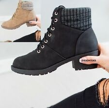 WOMENS LACE UP HIGH BLOCK HEEL LADIES SOLID PLATFORM ELASTIC BACK ANKLE BOOTS SZ