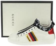 NEW GUCCI LADIES SYLVIE WEB LEATHER & LACE HIGH TOP SNEAKERS SHOES 35.5/ 6 US