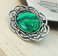 Vintage Style - Green Abalone Cabochon Pewter Celtic Scottish Design Brooch Pin