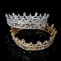 HK- Full Round Tiara Bridal Crown Rhinestone Headpiece Women Hair Jewelry Splend