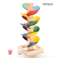 Educational Wooden Toys Building Blocks Tree Marble Ball Run Track Game Baby Kid