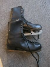 New listing VINTAGE MEN'S BLACK LEATHER ICE SKATES SIZE 10 Great Condition