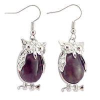 Unique Owl Design Natural Purple Amethyst Gemstone Silver Dangle Earrings