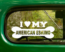 2 I Love My American Eskimo Dog Stickers Breed Decal for Car Truck Laptop Window