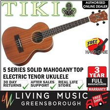 NEW Tiki Solid Mahogany Top Electric Tenor Ukulele w Hard Case (Natural Satin)