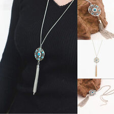 New Womens Retro Turquoise Feather Pendant Long Sweater Chain Necklace Jewelry