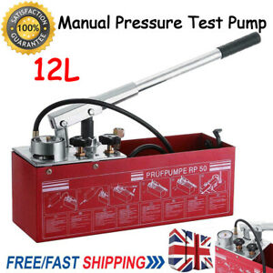 UK Water Pipe Line Leakage Tester Pressure Test Pump Hydraulic System 12 Litre