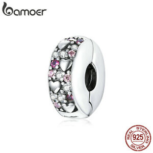 BAMOER Fine S925 Sterling Silver Clip Charm Pavé CZ Shining love For Bracelets