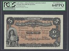 South African 5 Pounds ND(1900-20) PS554s Specimen  Uncirculated