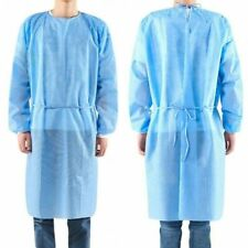 PPE Cover Isolation Tie Back Blue Gowns knit Cuff Disposable Medical Dental
