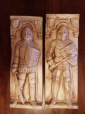 Pair of Medieval Soldiers in Full Battle dress plaster wall deco hanging plaques