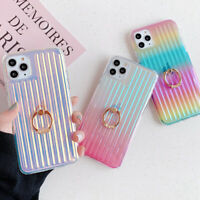 Laser Rainbow Ring Holder Stand Soft Case Cover For iPhone 11 Pro XS Max 8 Plus