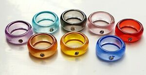 Crystal Perspex Resin Ring Red Pink Blue Other Bloggers Stories 7 / N