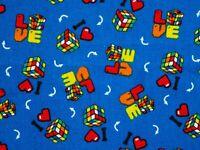 FAT QUARTER  I LOVE RUBIK'S CUBE CUBE PUZZLE  FUN NOVELTY FABRIC  100% COTTON FQ