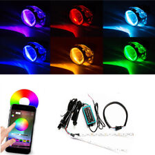 2x RGB Colorful LED Light Car Headlight Projector Decoration Devil Eye Phone APP