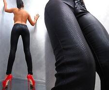 NEU STRETCH DAMEN SEXY SNAKE LEATHER LOOK Q24 LEDER OPTIK SCHWARZ Pants Hose XS