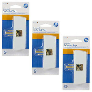 3 Outlet Wall Tap Electrical Socket Extender Adapter 3 PACK from GE