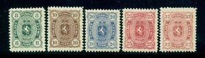 FINLAND 1892 Grand Duke Reprints, Coat of Arms complete set of 5 - only 100 made