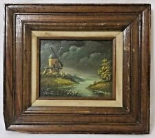 Vintage ORIGINAL OIL Painting windmill on the river signed George Stevens