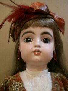 """Antique 25 1/2"""" rare French F.G. socket head doll, repaired"""