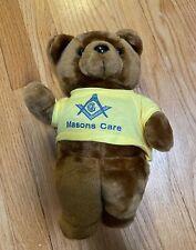 Toy Plush TEDDY BEAR Vintage Masons Care Masonic Freemason RARE