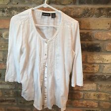 DKNY Jeans Women's  SZ Med Shirt White Button with Pleated front- 100% Cotton