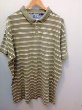 DEBENHAMS Khaki Stripe Pique Polo Shirt.  XXL.  <N2425
