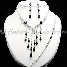 Parure de bijoux collier BO bracelet cristal clair & noir mariage soir miss