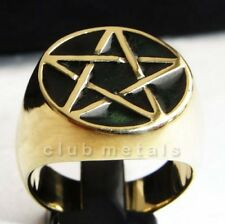MEN'S GREEN GOTHIC PENTACLE PENTAGRAM WICCA MAGIC BRONZE ROCKER BIKER  RING