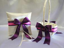 Wedding Accessories Ivory Eggplant Plum Flower Girl Basket Ring Bearer Pillow
