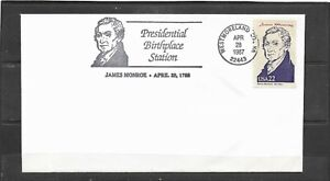 1987 US James Monroe Birthplace Station Cover, Westmoreland Co., Virginia