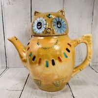 Vintage Peach Lusterware Glazed Porcelain Owl Teapot with Lid THE BARN Warm Spg