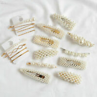 Fashion Women Pearl Hairclip Snap Barrette Stick Hairpin Bobby Hair Accessory SQ