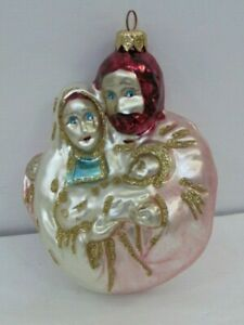 """Holy Family - Blown Glass Ornament  4 1/2"""""""