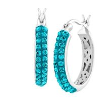Crystaluxe Hoop Earrings with Indicolite Swarovski Crystals in Sterling Silver