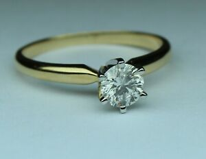 1/2 carat diamond solitaire ring IJ I1-I2 14kt yellow gold size 7 CLASSIC STYLE