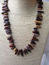 Handmade Long Genuine Gemstone Chip Shard Beaded Necklace Mookaite