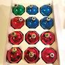 12 Vintage Pyramid Assorted Colorful Glass Balls Christmas Ornaments Gastonia