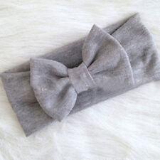 Girls Kids Baby Cotton Bow Hairband Headband Stretch Turban Knot Head Wrap AU Gray