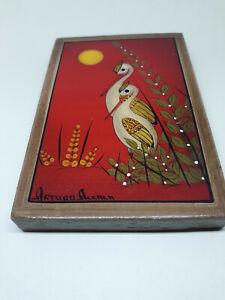 Vintage ARTURO ALCALA ART FOLK BIRDS PAINTING. SIGNED