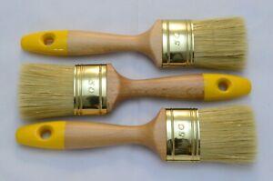 3 X 50mm OVAL Paint Brush Set, Pure Bristle Mix, Shabby Chic Chalk Paints, Oil.
