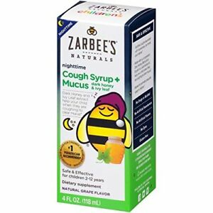 Zarbee's Naturals Children's Cough Syrup + Mucus Nighttime Natural Grape 4 oz