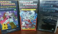 3 x Transformers Animated VHS Videos The Movie ,Revenge of Bruticus ,Headmasters