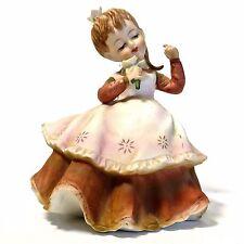 Vintage Lefton China Girl Figurine Holding Flower Ponytail Brown Dress KW2817B